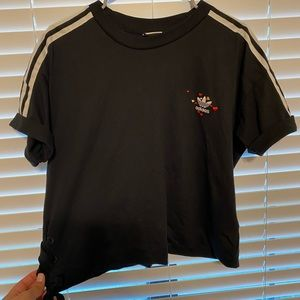 Stitched Adidas Crop Top with hearts